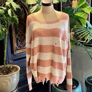 Cozy Casual distressed stripe slouchy sweater